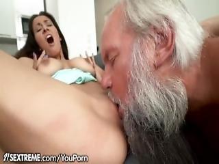Grandpa Greets Teen Lover In His Towel