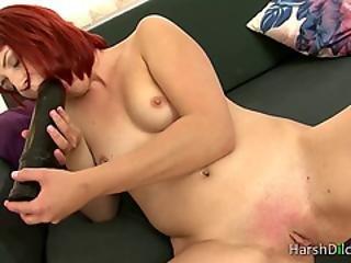 dildo, juicy, onanering, fitte, rødhåret, solo, suging