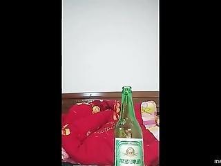 amateur, botella, coño, con cabello, coreana, masturbación