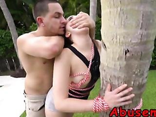 Young Brunette Gets Tied To Tree And Treated Like Whore