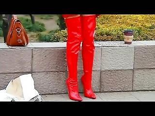 Chinese Thigh High Pvc Boots Model Walking