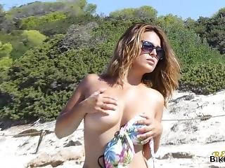 Busty Milf Strips On The Beach!- Voyeur