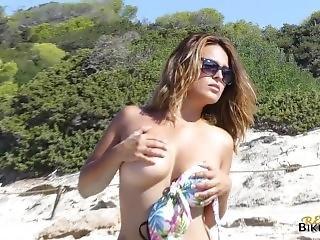 Busty Milf Strips On The Beach!- Voyeur
