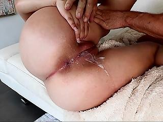 Good Ass Teen Sliding On A Cock. Cum Covered Pussy