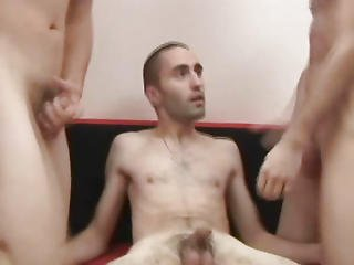 Threesome Gay Blowjob And Felched After Bareback