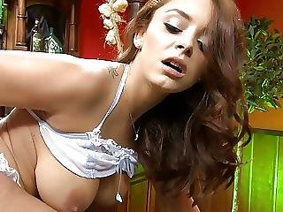 Pretty Brunette Liza Touches Her Tight Nipples And Gives Blowy At The Same Time