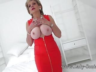 store bryster, stort bryst, blond, bryst, britisk, hæle, matur, sexet, strømper, drilleri