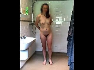 Curvy Brunette Changing In Bathroom Pissing On Toilet And Taking Shower Rb