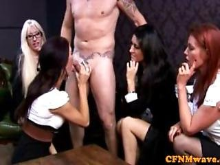 Group Cfnm Sluts Play With Dudes Cock