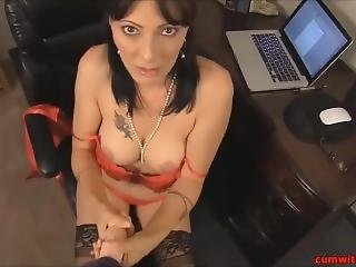 Hoy Milf Teacher Getting Cum On Her Stockings