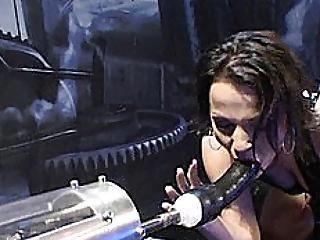 Automatic Sex Tool Machine Fucking Brunette Hair