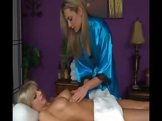 Blond On Blodn Action During This Massage Session