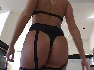 Teen In Stockings Plays With Her Pussy Then Has Anal Sex