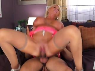 Blonde Gilf Wild Sex In Tan Stockings