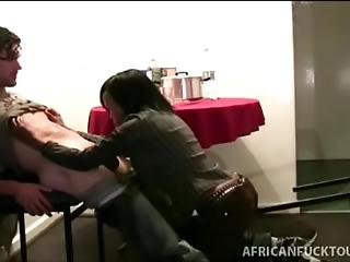 Cock Hungry African Gets On Her Knees To Please White Man