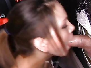 Slut Swallows Too Much Cum At Gloryhole