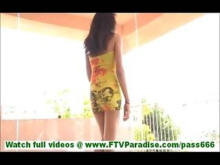 Chloey Badass Brunette Hottie Flashing Pussy And Masturbating On Balcony