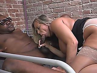 Busty Slut Amber Lynn Bach Sucks And Rides Black Dick In Prison