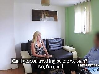 Blonde Big Boobied Slutt In Black Stockings And Lingerie Titfucked Agent On Casting After Blowjob Then Got Her Pussy Deep Banged On Couch