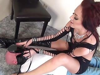 Tall Girl Dominates Tiny Slave