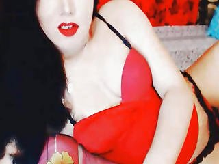 Hottie Asian Shemale In Red