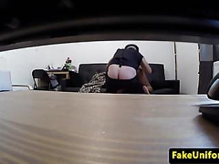 Ebony Amateur Doggystyled By Fake Cop