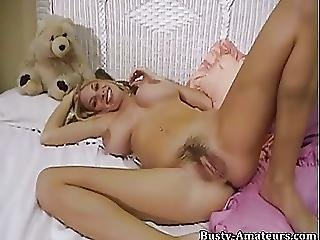 Mary Fox Fingering And Playing Her Curly Bawdy Cleft With Vibrator