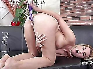 Ravishing Nympho Is Pissing And Masturbating Shaved Fuckbox
