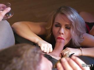 Blonde Mom In Lingerie Rides In Cowgirl