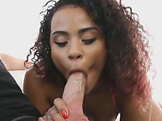 This Ebony Babe Is A Real Cock Gobbling Athlete