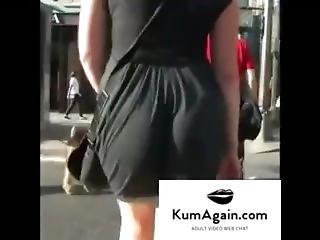 Candid Ass In Dress Clapping