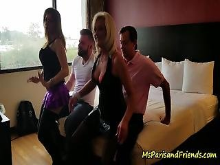 A Couple Of Guys Call Over Two Strippers For A Little Entertainment The Start With Lap Dances Then Give A Girl On Girl Pussy Licking Show Before Bending Over Doggystyle To Get Fucked Hard
