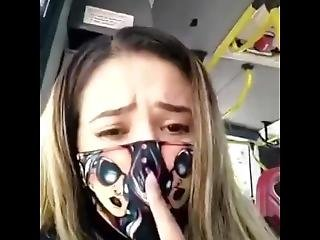 Spanish Babe Masturbating And Squirting On A Public Buss Under Quarantine