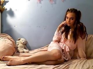 Curvy Teen In Lingerie Uses Dildo