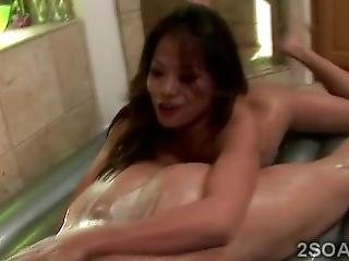 Busty Brunette Masseuse Pleases A Gifted Clients Cock