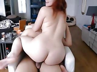 Sexy Chubby Redhead Babe Riding Bf Cock Cum On Face