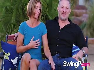 Swingers Play Around As They Heat Things Up In The Backyard