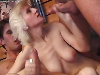 Blonde Mature Banged Threesome All Holes