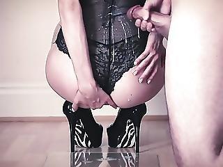 Babe In Black Lingerie Licks Cum Off The Floor