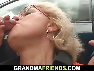 Blonde Old Granny Double Fucked In The Fields