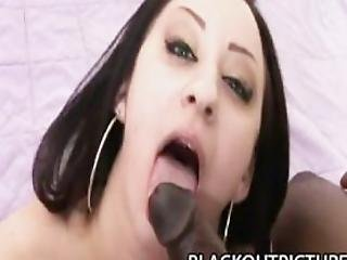 Maya - Brunette Babe Riding On A Scary Black Schlong
