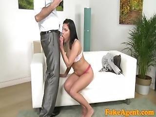 auditie, pijp, casting, bank, ejaculatie, neuken, interview, model, pov, realiteit, bank sex