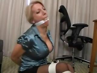 Blue Shirt Hotel Room Blonde