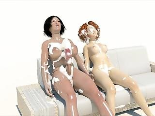 3d, asiat, hentai, lesbisk, mælk, shemale
