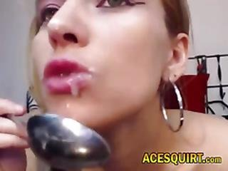 Nasty Acesquirt Babe Likes Eating Own Cum After You Made Her Pop