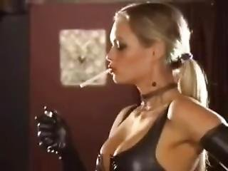 Sexy Nadja Smoking In Rubber