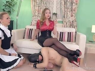 Sexy French Maid Serves Mistress And Male Slave