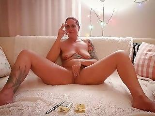 Naked Milf Stepmom Rosalie Smokes A Cigarette And Plays With Her Pussy...
