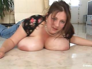 Cleaning Girl Starts Floor Cleaning But Cleans Her Massive Boobs In The Pro