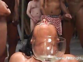 Bukkake Cumfest, Gorgeous Brunette Covered In Cum, Swallows The Lot!